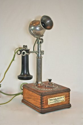 1898 Wilhelm Telephone Mfg. Company fluted on wood base